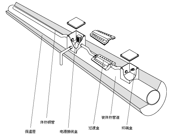 管道集肤效应电伴热装置的高清结构图