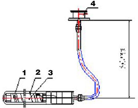 直角软管式电加热棒结构图